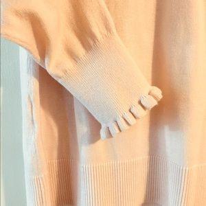 LOFT Soft Pink Ruffle Cuff Slouchy Sweater sz L